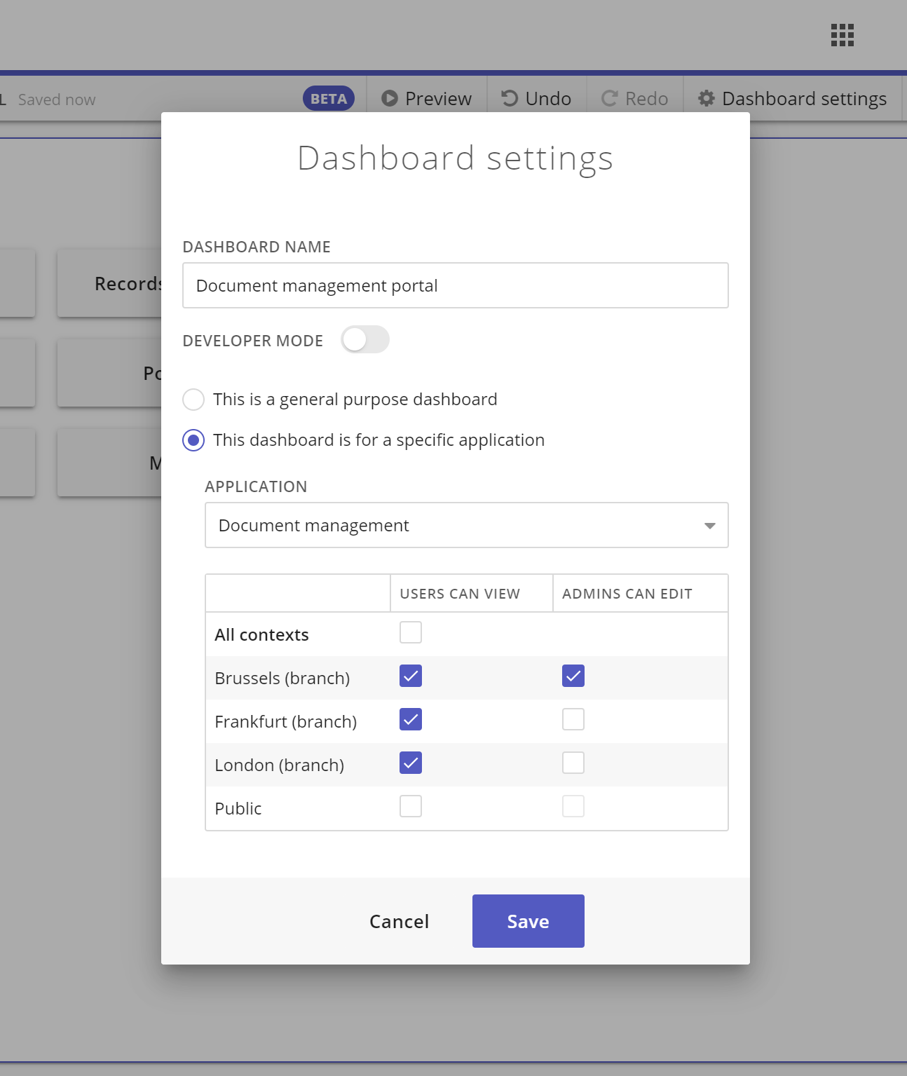 Dashboard permissions example
